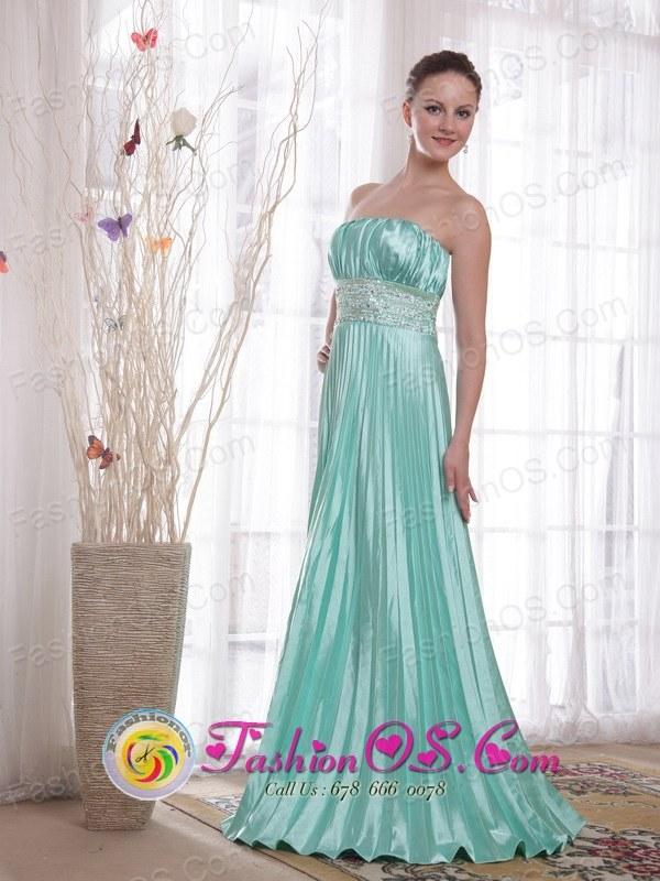 Apple Green Empire Shinning Elastic Woven Satin Beading Prom Dress ...