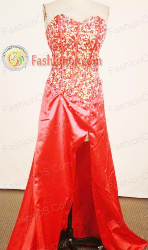 Beautiful A-line Sweetheart-neck Floor-length Red Beading Prom Dresses Style FA-C-177