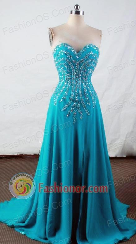 Popular Empire Sweetheart-neck Floor-length Teal Beading Prom Dresses Style FA-C-183