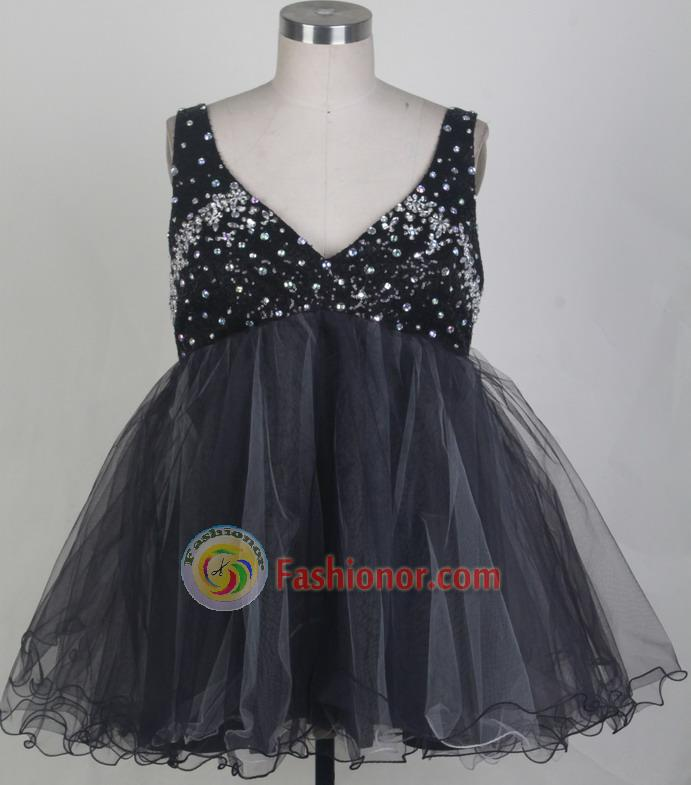 Sweet Short V-neck Mini-length   Black Quinceanera Dress LHJ42845