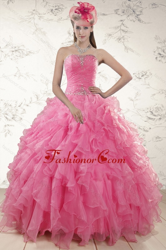 2015 Ball Gown Organza Quinceanera Dresses with Beading and Ruffles XFNAO724FOR