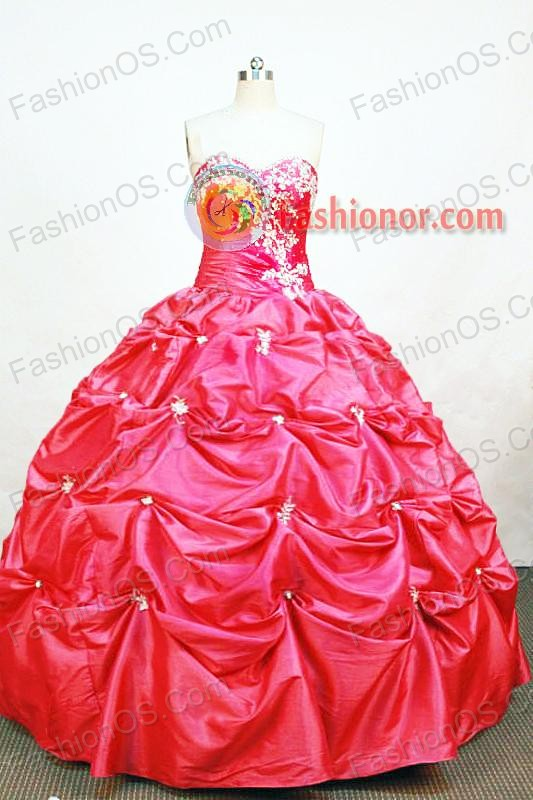 Affordable Ball Gown Sweetheart Neck Floor-length Taffeta Hot Pink Quinceanera Dresses Style FA-W-014