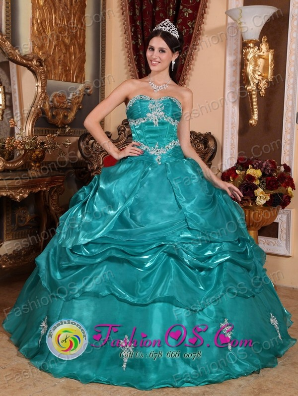 Brand New Turquoise 2013 Bernal  Argentina Quinceanera Dress with Strapless Appliques Organza for Military Ball Style QDZY006FOR