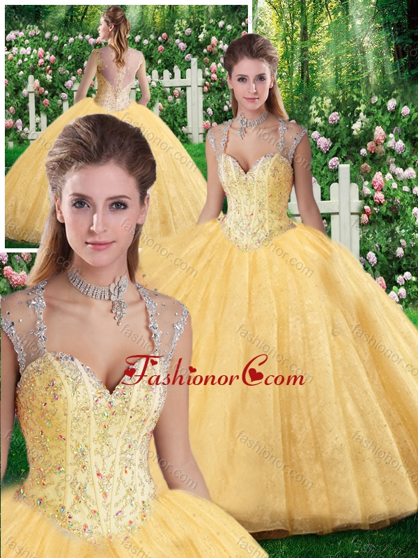 Cheap Ball Gown Beading and Appliques Sweet 16 Dresses SJQDDT265002FOR