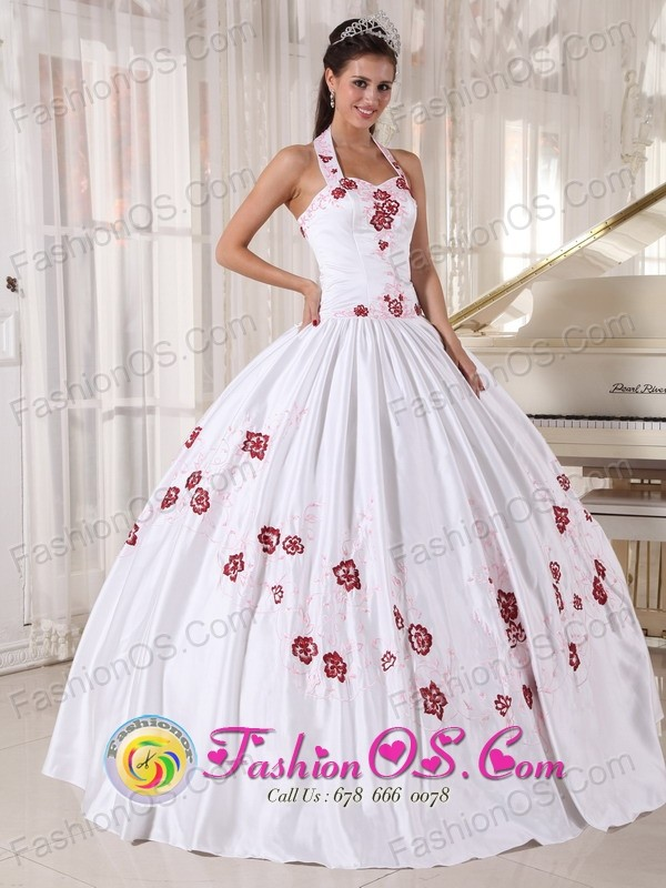 Halter Top White Quinceanera Dress Taffeta Embroidery Ball Gown For ...
