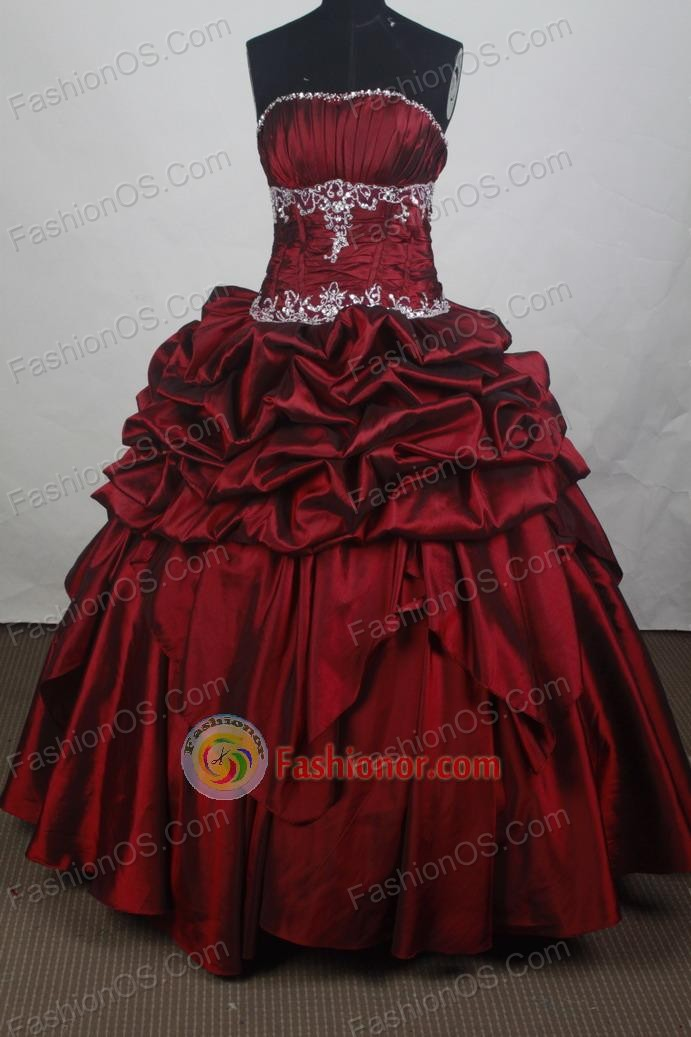 Modest Ball Gown Strapless Floor-length Burgundy Vintage Quincenera Dresses TD260060