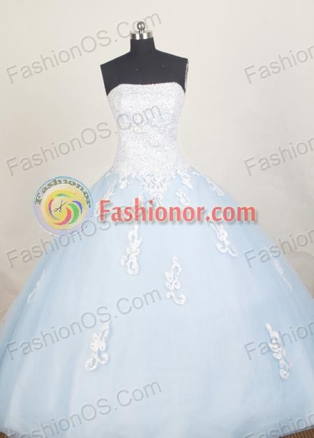 Modest Ball Gown Strapless Floor-length Quinceanera Dress ZQ12426088