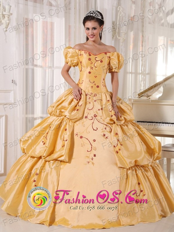 Off The Shoulder and Short Sleeves Yellow Quinceanera Dress With Embroidery and Pick-ups for 2013 San Juan  Argentina  Style PDZY538FOR