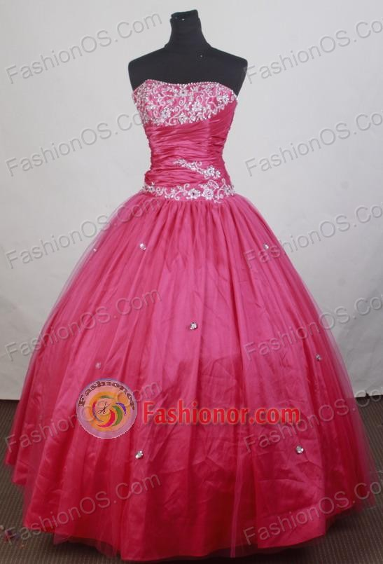 Simple Ball Gown Strapless Floor-length Vintage Quinceanera Dress ...