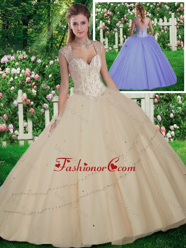 Simple Straps Beading Quinceanera Gowns for 2016 SJQDDT260002FOR