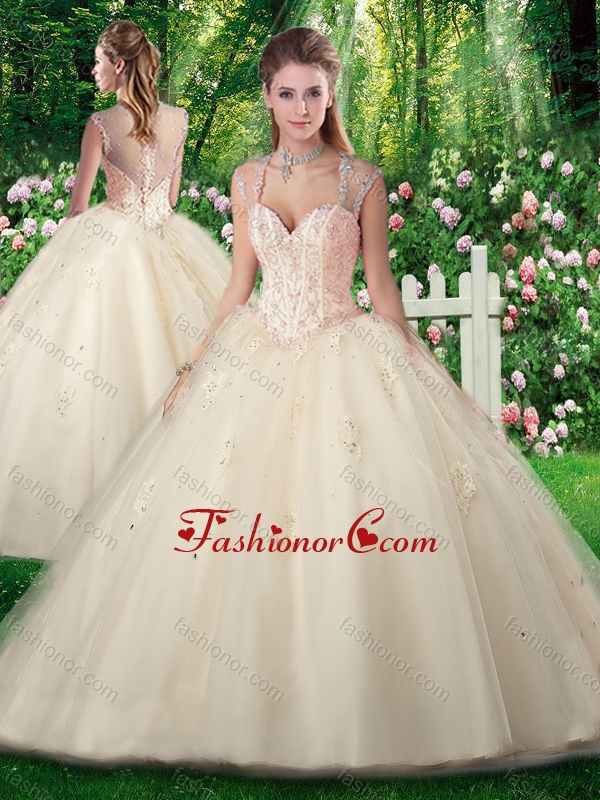 Vintage A Line Champange Quinceanera Dresses with Beading and Appliques SJQDDT276002FOR