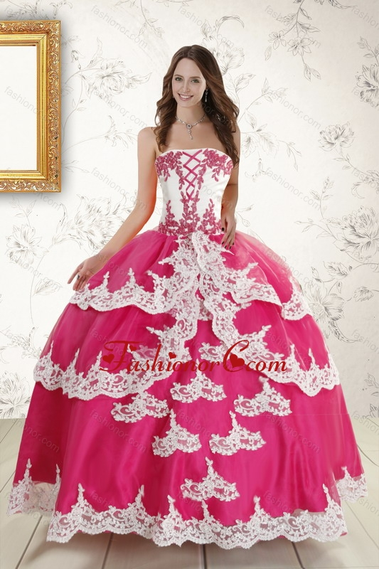2015 Hot Pink Strapless Quinceanera Dresses with Appliques ...