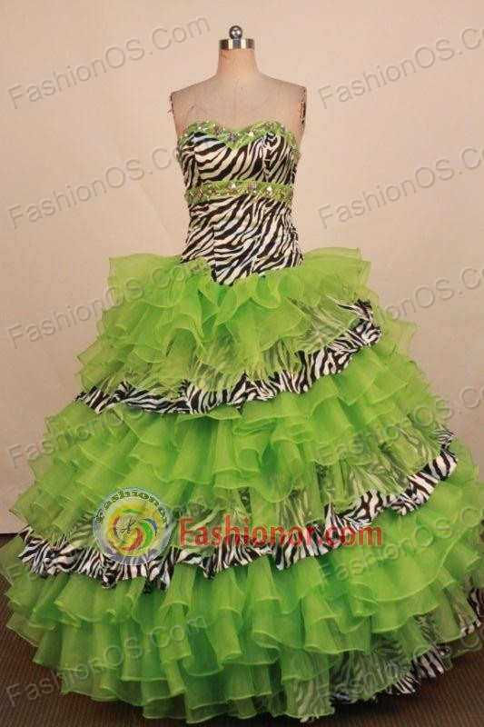 Beautiful Ball Gown Sweetheart Neck Floor-Length Spring Green ...