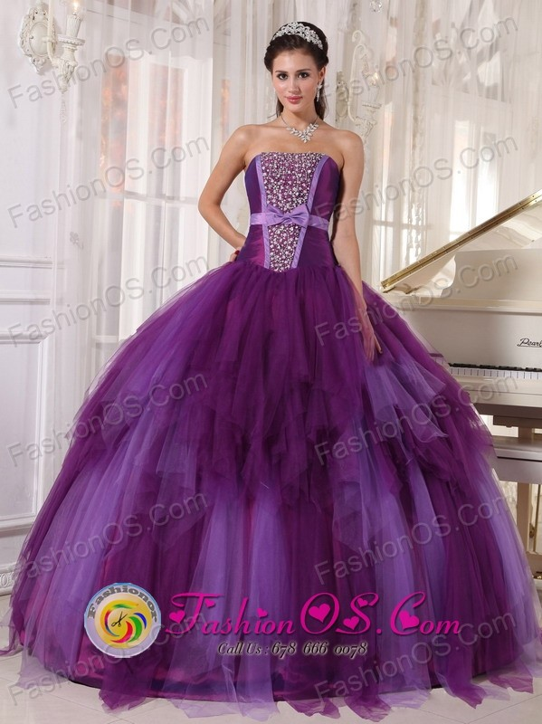 Moa Cuba Tulle sweet sixteen Dress Beading and Bowknot For Elegant ...