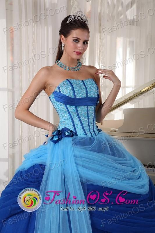 Moron Cuba Strapless Blue ruched sweet sixteen Dress ForSweet 16 ...