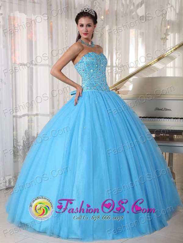For Sweet 16 Sky Blue Sweetheart Beaded Decorate Bodice Tule ...