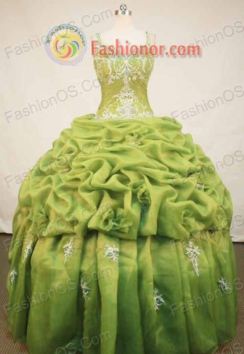 Popular Ball Gown Straps Floor-Length Spring Green Appliques and Beading Quinceanera Dresses Style FA-S-142