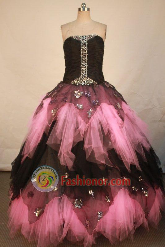 Cute Ball Gown Strapless Floor-length Quinceanera Dresses Appliques with Beading Style FA-Z-0322