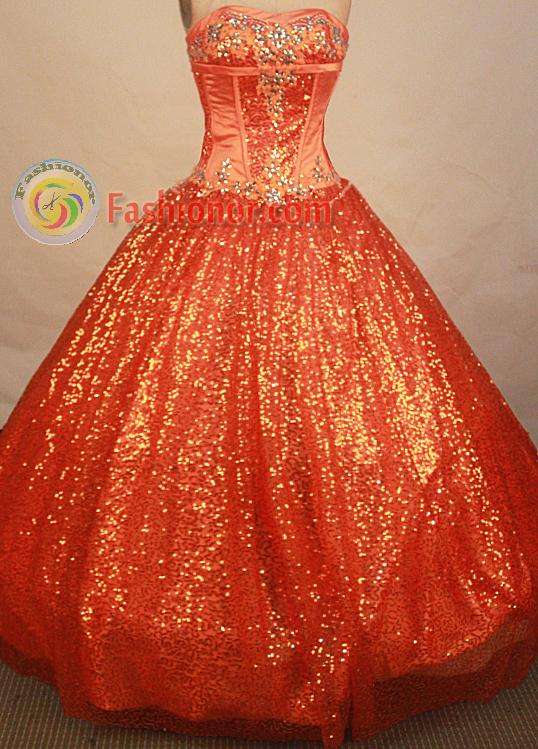Perfect ball gown sweetheart-neck floor-length beading orange red ...
