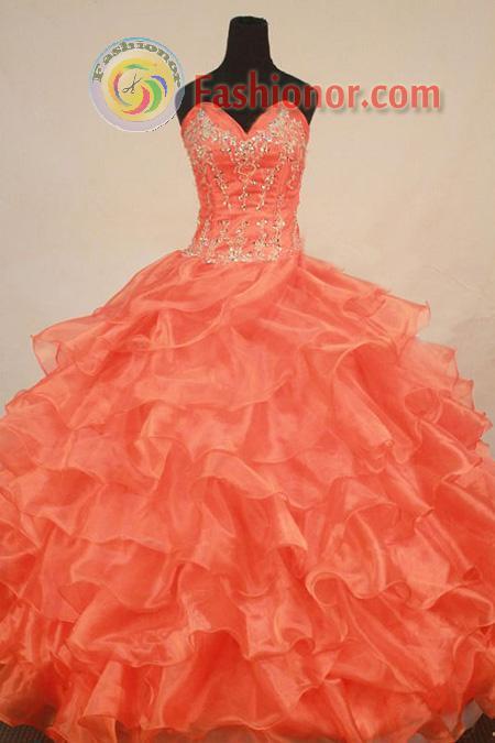 Gorgeous Ball Gown Sweetheart Floor-length Orange Organza Beading ...
