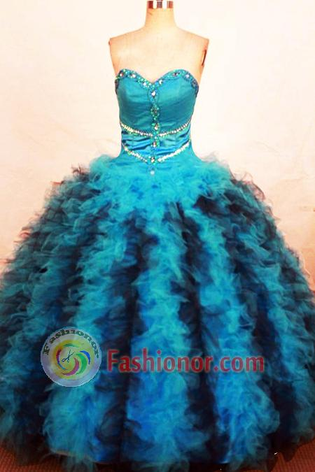 Luxurious Ball Gown Sweetheart Floor-length Teal Organza Beading Quinceanera dress Style FA-L-267