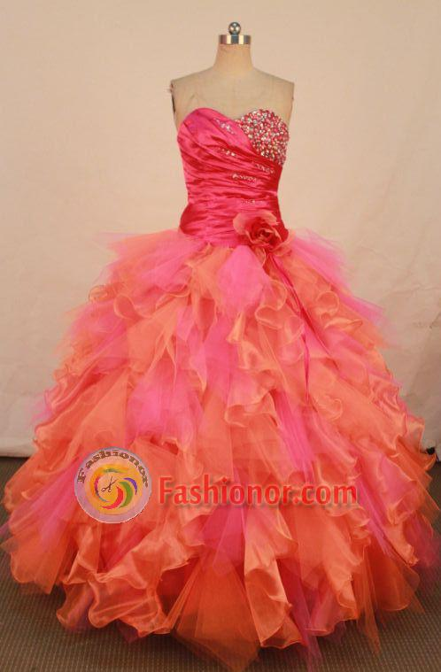 Elegant Ball Gown Sweetheart Floor-length Orange Organza Quinceanera dress Style FA-L-274