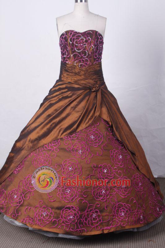 Modest Ball Gown Sweetheart Floor-length Brown Taffeta Embroidery Quinceanera dress Style FA-L-020