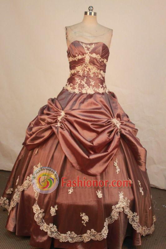 Wonderful Ball Gown Strapless Floor-length Brown Taffeta Appliques Quinceanera dress Style FA-L-226