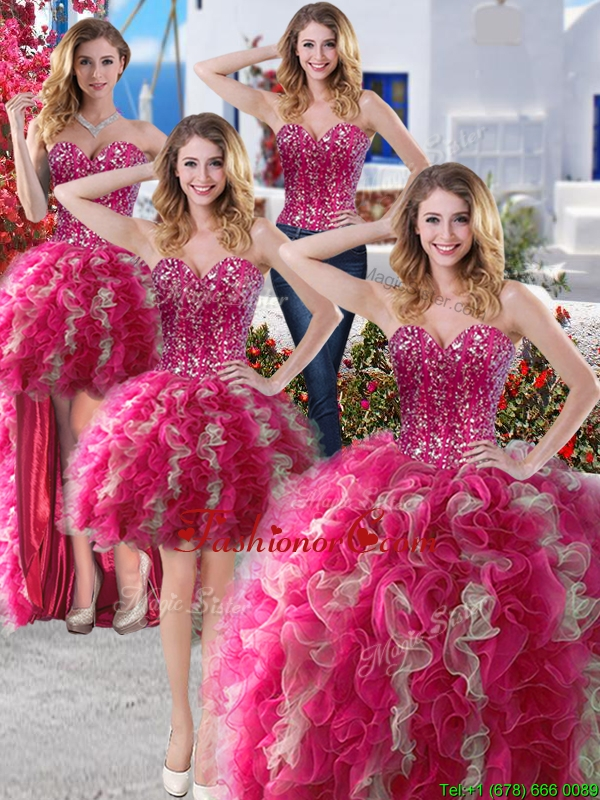 Perfect Big Puffy Organza Detachable Quinceanera Dresses with Beading and Ruffles YYPJ002CX004FOR