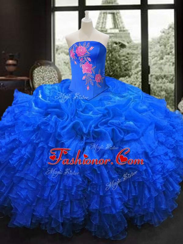 ba5d9eb4ec Dramatic Embroidery and Ruffles Vestidos de Quinceanera Royal Blue Lace Up  Sleeveless Floor Length