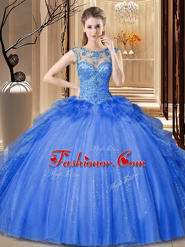 Super Scoop Blue Tulle and Sequined Lace Up Quinceanera Dress Sleeveless Floor Length Ruffles