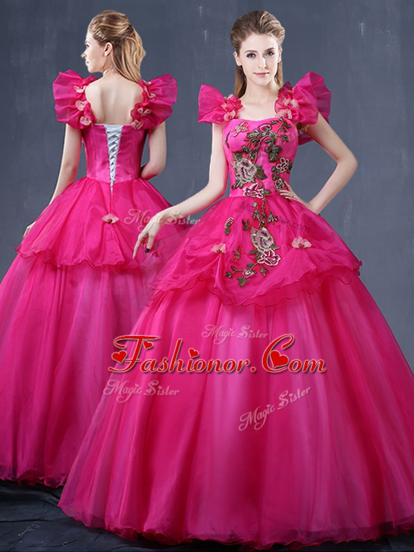Fuchsia Lace Up Straps Appliques 15 Quinceanera Dress Tulle Sleeveless