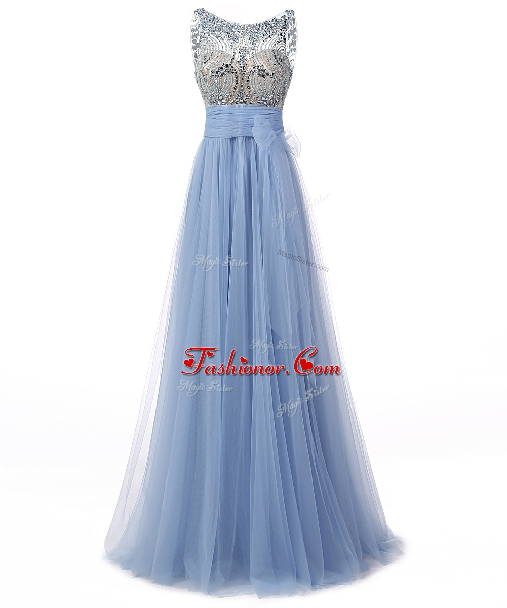 Edgy Scoop Beading and Bowknot Prom Party Dress Blue Backless ...