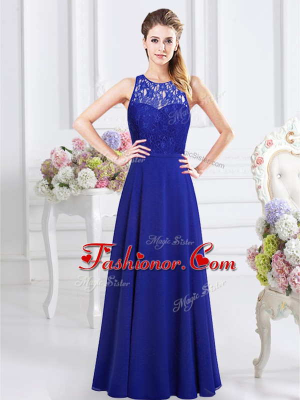 Colorful Scoop Royal Blue Chiffon Backless Quinceanera Court of ...