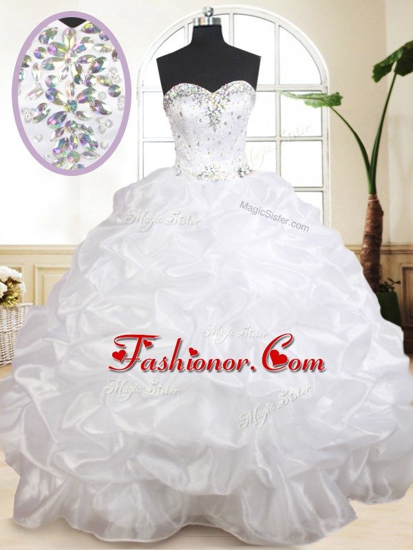 Fitting Sleeveless Floor Length Beading and Pick Ups Lace Up Sweet 16 Dresses with White