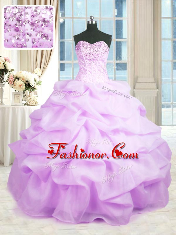 Dazzling Rose Pink Organza Lace Up Sweet 16 Quinceanera Dress Sleeveless Floor Length Beading and Ruffles