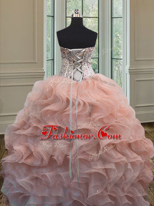 Peach Ball Gowns Beading and Ruffles Quinceanera Dress Lace Up ...