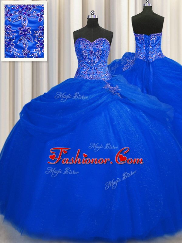 New Style Big Puffy Floor Length Ball Gowns Sleeveless Royal Blue ...