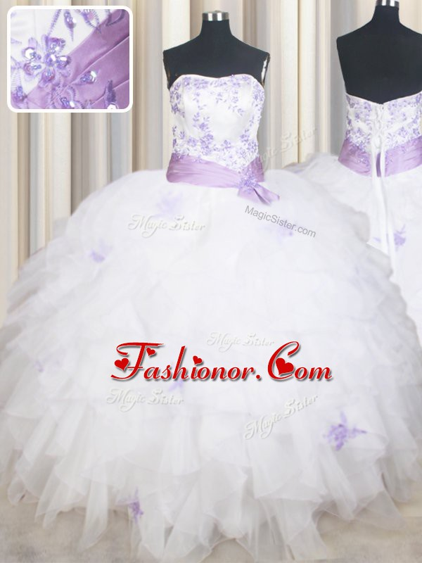 White Lace Up Quinceanera Dresses Beading and Ruffles and Belt Sleeveless Floor Length