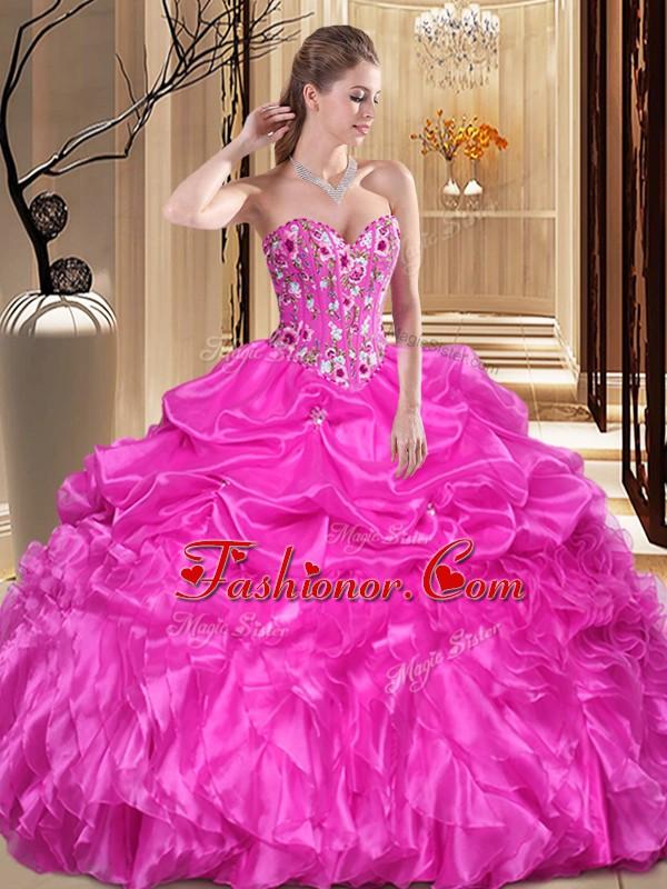 Customized Fuchsia Organza Lace Up Sweetheart Sleeveless Floor ...