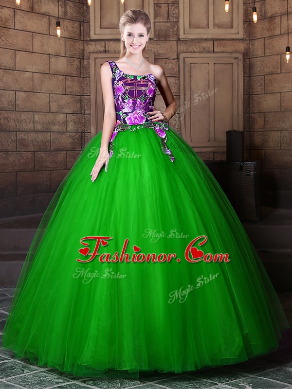 Floor Length Quinceanera Gowns One Shoulder Sleeveless Lace Up