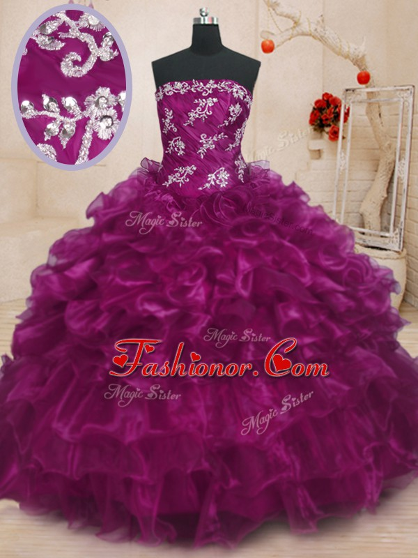 Glittering Strapless Sleeveless Organza 15th Birthday Dress Beading and Appliques and Ruffles Lace Up
