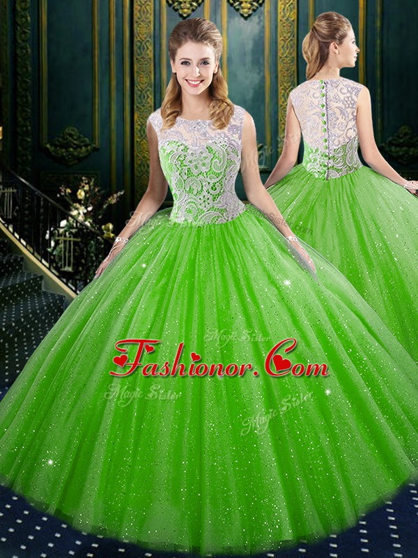 Traditional Tulle Sleeveless Floor Length 15th Birthday Dress and Lace