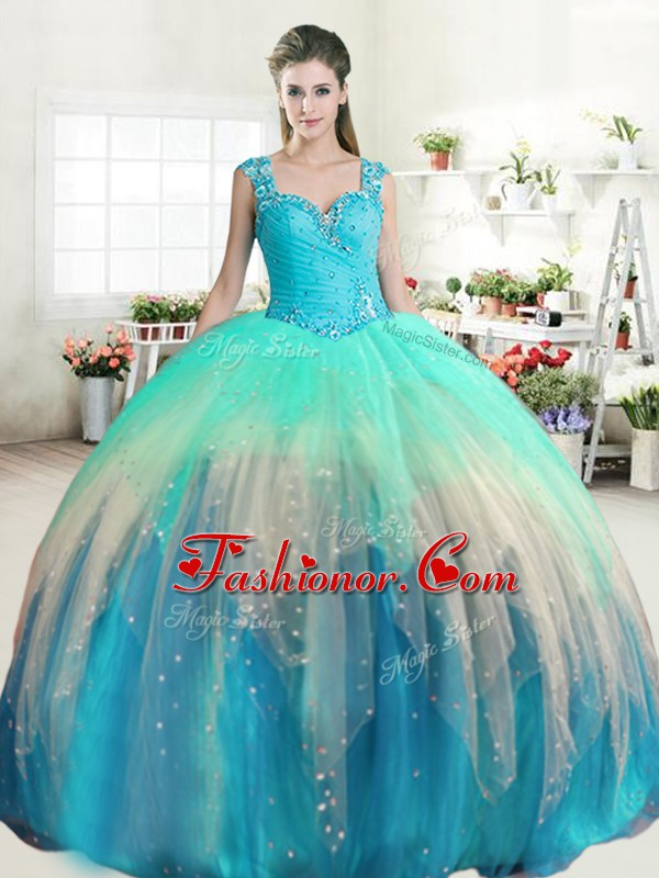Multi-color Straps Neckline Beading and Ruffled Layers Quinceanera Gowns Sleeveless Zipper