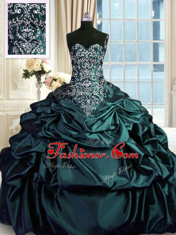 Dark Green Ball Gowns Sleeveless Taffeta Floor Length Zipper Beading and Embroidery and Pick Ups Quinceanera Gown
