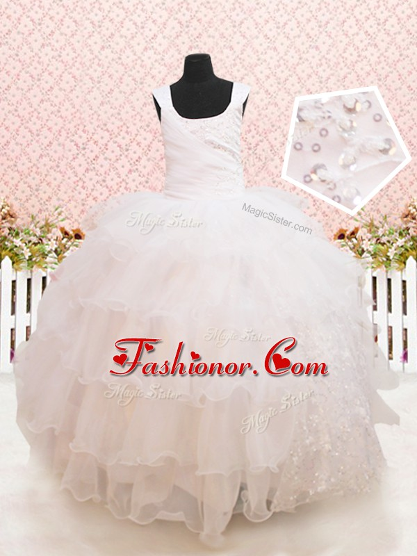 Scoop Sleeveless Beading and Ruffled Layers and Sequins Lace Up Flower Girl Dresses for Less