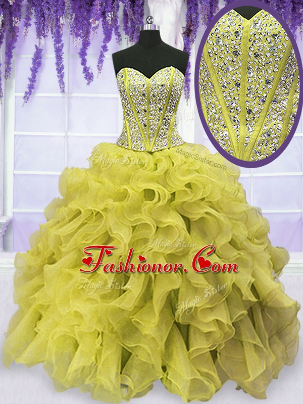 Inexpensive Organza Sleeveless Floor Length Quince Ball Gowns and Beading and Ruffles