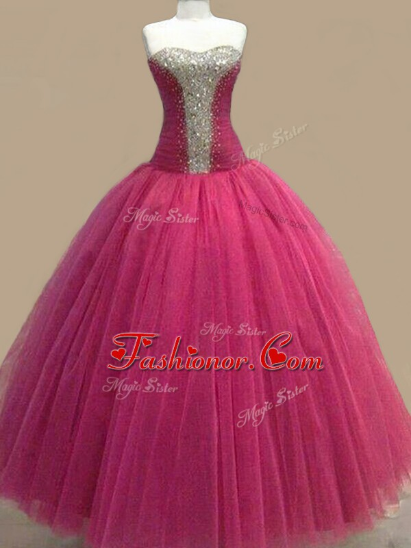 Fashionable Fuchsia Lace Up Sweetheart Beading Prom Party Dress Tulle Sleeveless