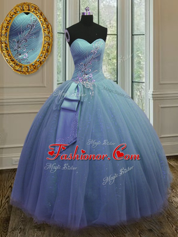 Blue Tulle and Sequined Lace Up Sweetheart Sleeveless Floor Length 15th Birthday Dress Beading and Ruching