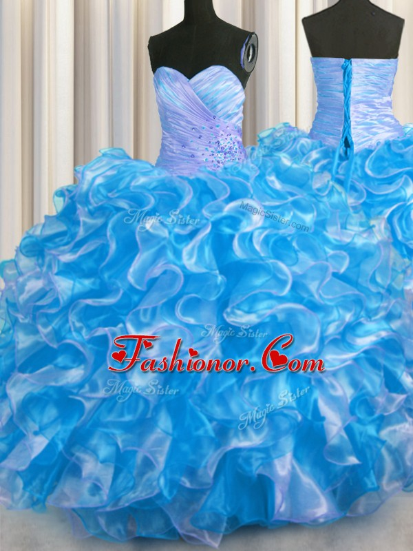 Ball Gowns Quinceanera Gowns Blue And White Sweetheart Organza Sleeveless Floor Length Lace Up
